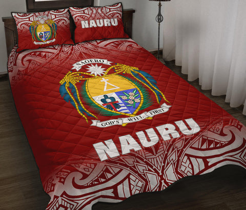 Nauru Polynesian Quilt Bed Set - Red Fog Style - BN12