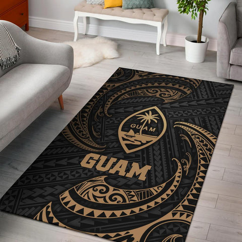 Guam Polynesian Area Rug - Gold Tribal Wave