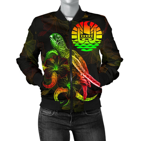 Tahiti Polynesian Women's Bomber Jacket - Turtle With Blooming Hibiscus Reggae