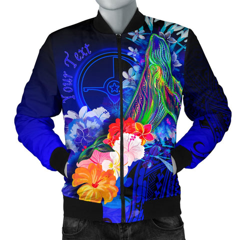 [Custom] Yap Men's Bomber Jacket - Humpback Whale with Tropical Flowers (Blue)