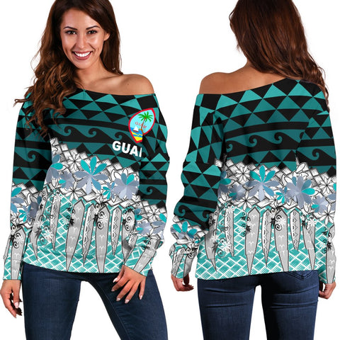 Guam Women's Off Shoulder Sweaters  - Coconut Leaves Weave Pattern Blue - BN20