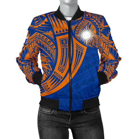 Marshall Islands Polynesian Women's Bomber Jacket - Tribal Tattoo