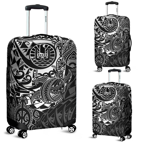 Tahiti Polynesian Luggage Cover - White Turtle Hibiscus Flowing