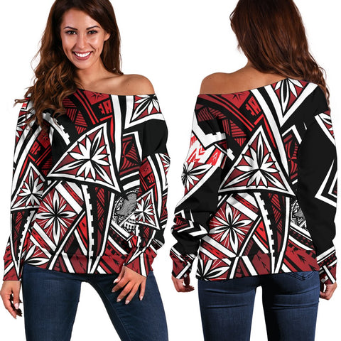 American Samoa Women's Off Shoulder Sweater - Tribal Flower Special Pattern Red Color - BN20