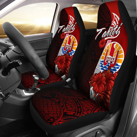 Tahiti Polynesian Car Seat Covers - Coat Of Arm With Hibiscus