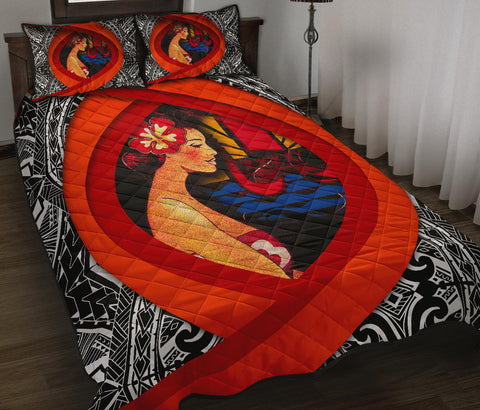French Polynesia Quilt Bed Set - Polynesian Girl