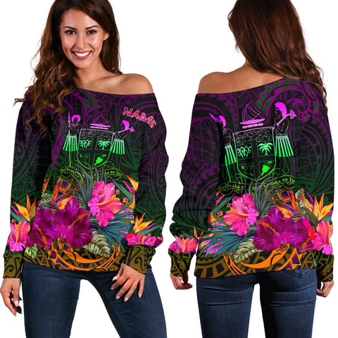 Image of Fiji Personalised Women's Off Shoulder Sweater - Summer Hibiscus