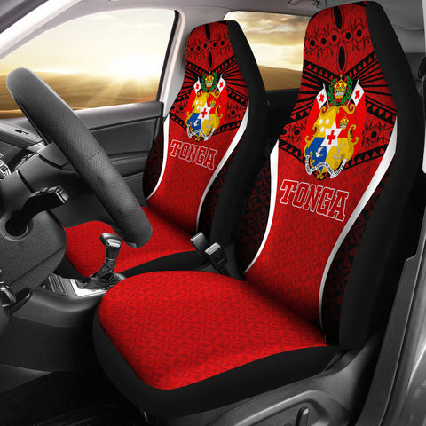 Image of Tonga Polynesian Car Seat Covers - Red Pattern