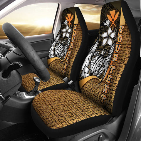 Polynesian Hawaii Custom Personalised Car Seat Covers Gold - Turtle with Hook