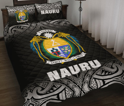 Image of Nauru Polynesian Quilt Bed Set -  Black Fog Style - BN12