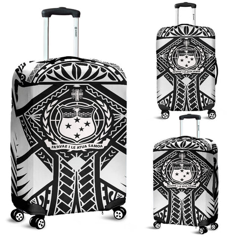 Image of Samoa Polynesian Luggage Covers - Samoa White Seal with Polynesian Tattoo - BN18