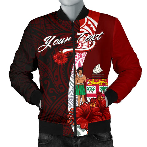 Fiji Polynesian Custom Personalised Men's Bomber Jacket - Coat Of Arm With Hibiscus