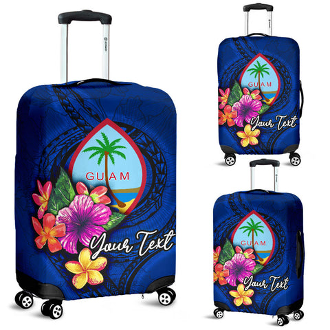 Guam Polynesian Custom Personalised Luggage Covers - Floral With Seal Blue