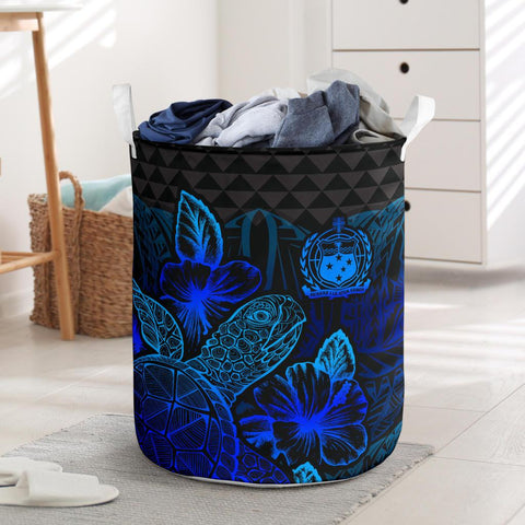 Image of Samoa Laundry Basket - Polynesian Turtle Hibiscus Blue