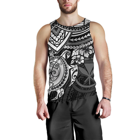 Polynesian Hawaii Men's Tank Top - White Turtle - BN1518