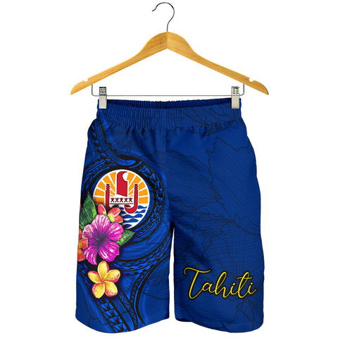 Tahiti Polynesian Men's Shorts - Floral With Seal Blue - BN12