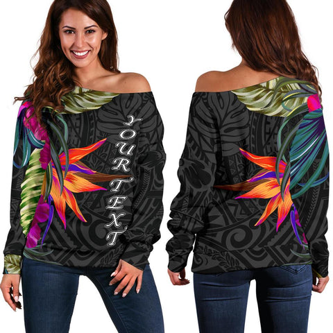 Polynesian Custom Personalised Women's Off Shoulder Sweater - Hibiscus Pattern - BN39