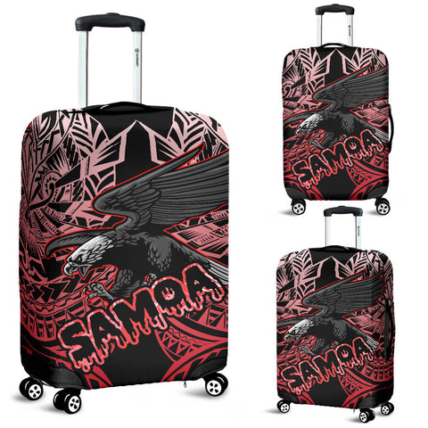 Samoa Polynesian Luggage Covers - Eagle Tribal Pattern Red