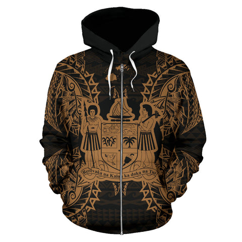 Fiji Polynesian All Over Zip Up Hoodie Map Gold