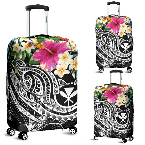 Polynesian Hawaii Kanaka Maoli Luggage Covers  - Summer Plumeria  (Black)