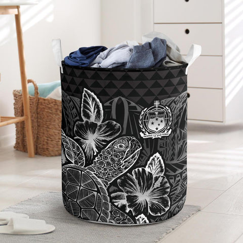 Image of Samoa Laundry Basket - Polynesian Turtle Hibiscus Black