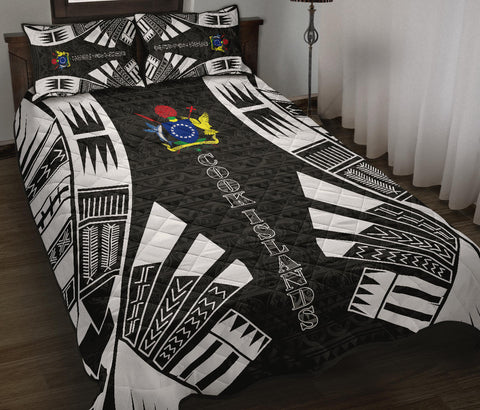 Cook Islands Polynesian Quilt Bed Set - Black Tattoo Style - BN0112