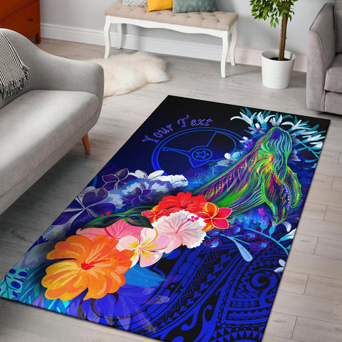[Custom] Yap Area Rug - Humpback Whale with Tropical Flowers (Blue)