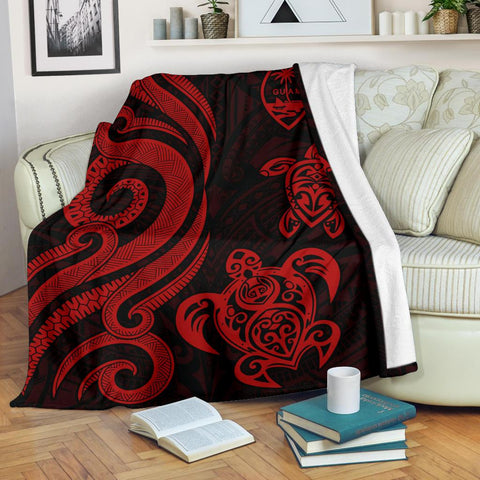 Image of Guam Polynesian Premium Blanket - Red Tentacle Turtle