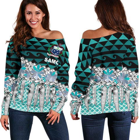 Samoa Women's Off Shoulder Sweater - Coconut Leaves Weave Pattern Blue - BN20