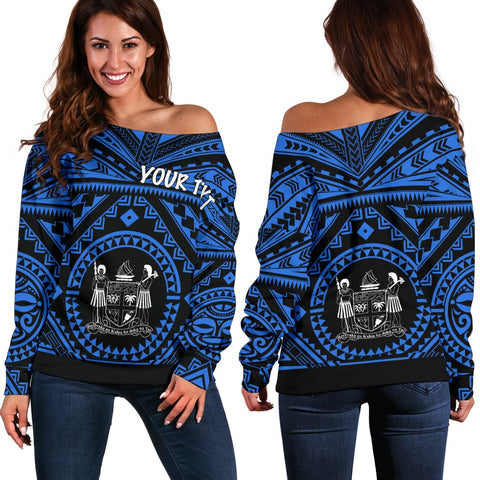 Fiji Personalised Women's Off Shoulder Sweater - Fiji Seal With Polynesian Tattoo Style ( Blue)