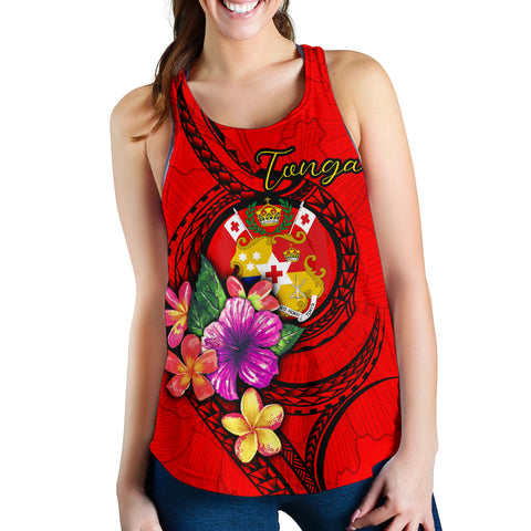 Tonga Polynesian Women's Racerback Tank - Floral With Seal Red
