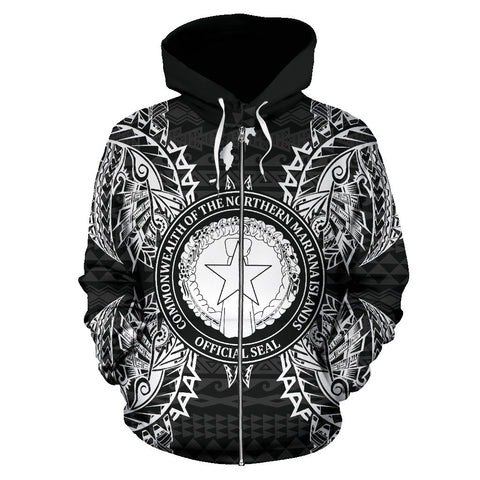 Northern Mariana Islands Polynesian All Over Zip Up Hoodie Map Black