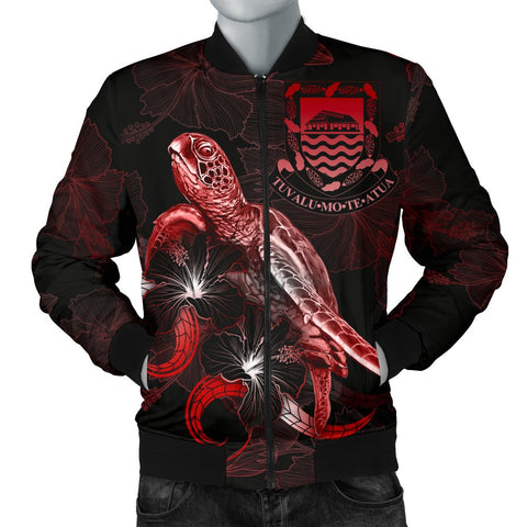 Tuvalu Polynesian Men's Bomber Jacket - Turtle With Blooming Hibiscus Red