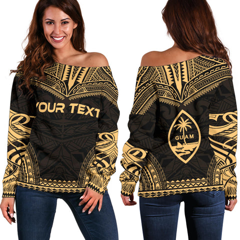 Guam Polynesian Chief Custom Personalised Women's Off Shoulder Sweater - Gold Version - Polynesian Apparel, Poly Clothing, Women Sweater