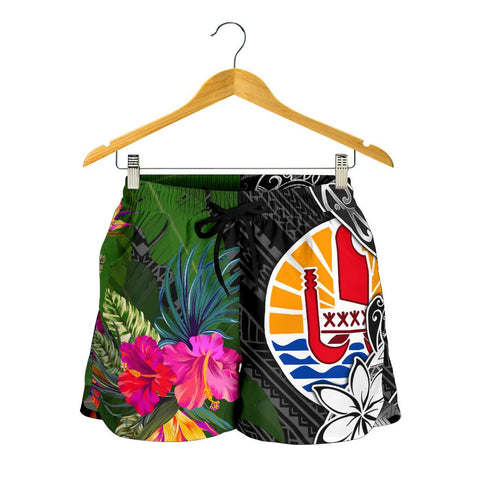 Tahiti Women Shorts - Turtle Plumeria Banana Leaf - BN11