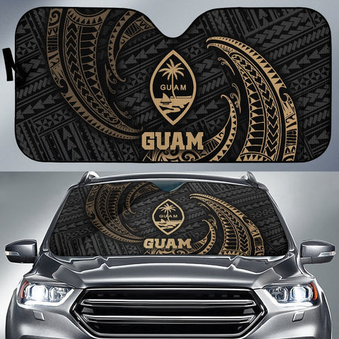 Image of Polynesian Guam Sun Shades - Gold Tribal Wave