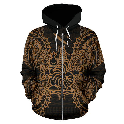 New Caledonia Polynesian All Over Zip Up Hoodie Map Gold