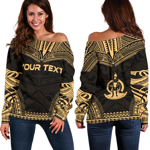 Vanuatu Polynesian Chief Custom Personalised Women's Off Shoulder Sweater - Gold Version - Polynesian Apparel, Poly Clothing, Women Sweater