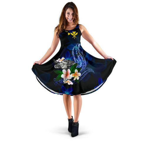Polynesian Hawaii Midi Dress - Turtle With Plumeria Flowers