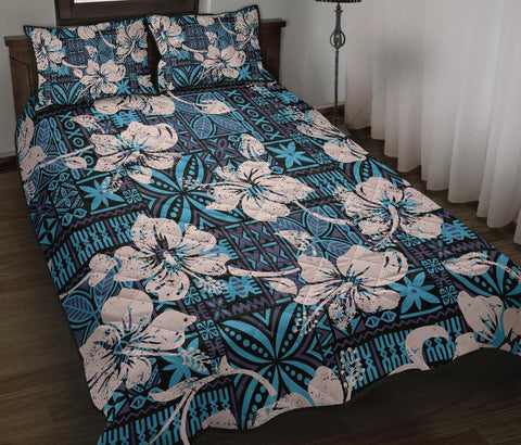 Image of Fiji Polynesian Quilt Bed Set Tapa Hibiscus Blue