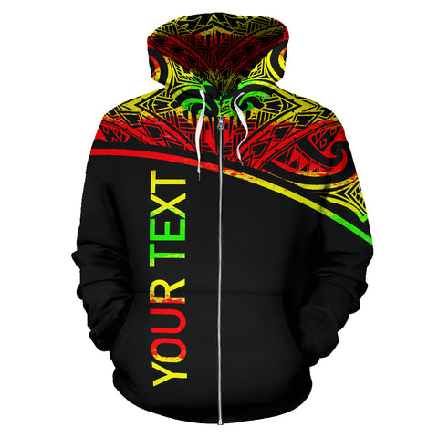 Image of Turtle All Over Custom Personalised Zip-Up Hoodie - Polynesian Reggae Curve Style - BN09