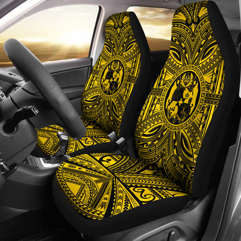Tonga Car Seat Cover - Tonga Coat Of Arms Polynesian Gold Black