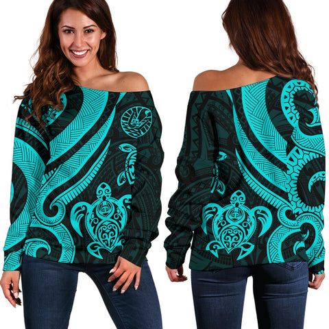 Tahiti Polynesian Women Of Shoulder Sweater - Turquoise Tentacle Turtle