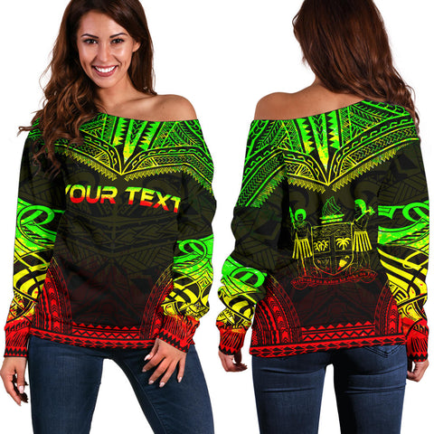 Fiji Polynesian Chief Custom Personalised Women's Off Shoulder Sweater - Reggae Version - Polynesian Apparel, Poly Clothing, Women Sweater