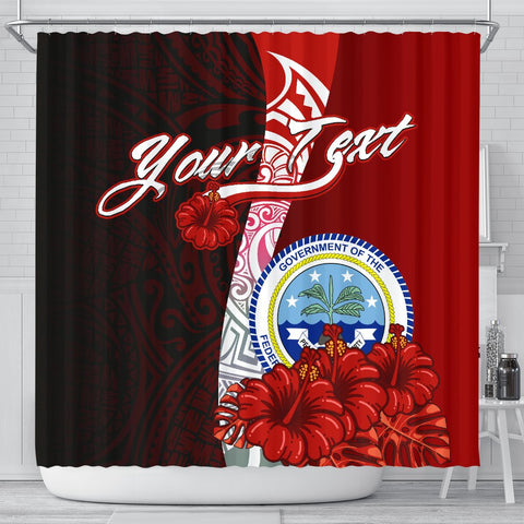 Fiji Polynesian Custom Personalised Shower Curtain - Coat Of Arm With Hibiscus