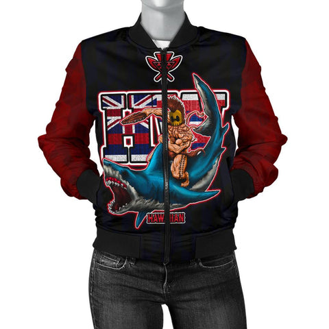 Polynesian Hawaii Women's Bomber Jacket - Shark Warrior