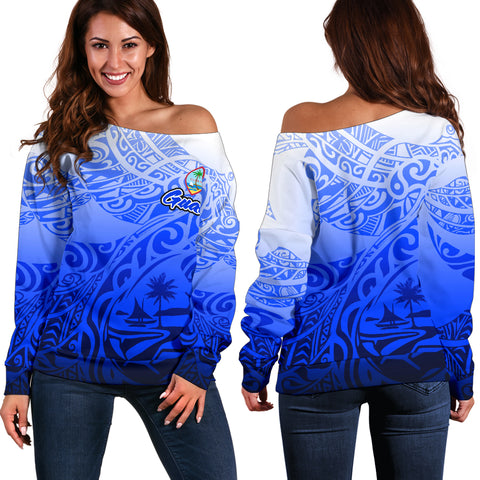 Guam Women's Off Shoulder Sweater - Tribal Tattoo With Seal