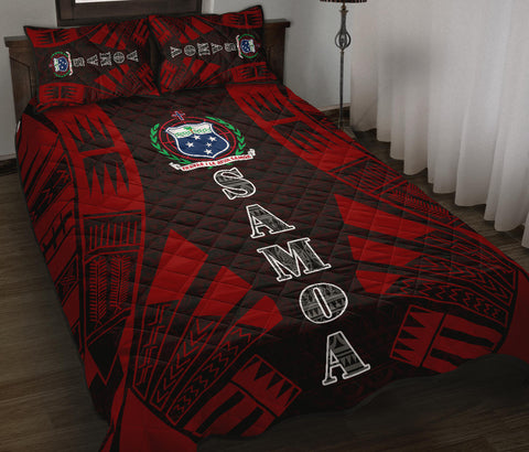 Samoa Quilt Bed Set - Black Red Tattoo Style - BN0112