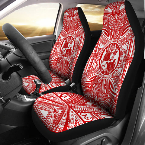Tonga Car Seat Cover - Tonga Coat Of Arms Polynesian Flag Color