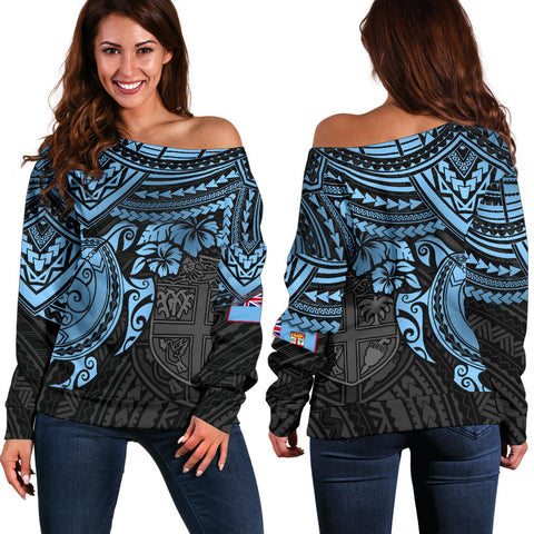 Image of Fiji Polynesian Women's Off Shoulder Sweater - Blue Turtle